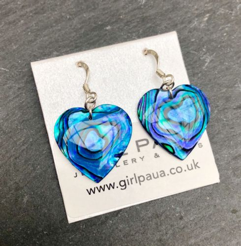 Paua Blue Earrings Heart PE18